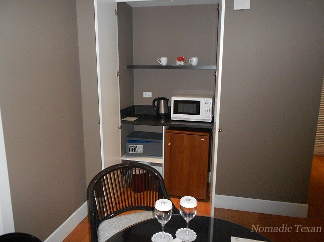 Wet Bar, Safe, Microwave and Refrigerator