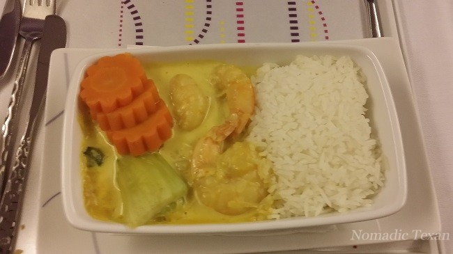My Entree (Shrimp Curry) in Business Class