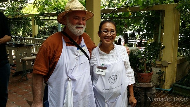 Tam of the Amita Thai Cooking School in Bangkok Thailand and The Nomadic Texan