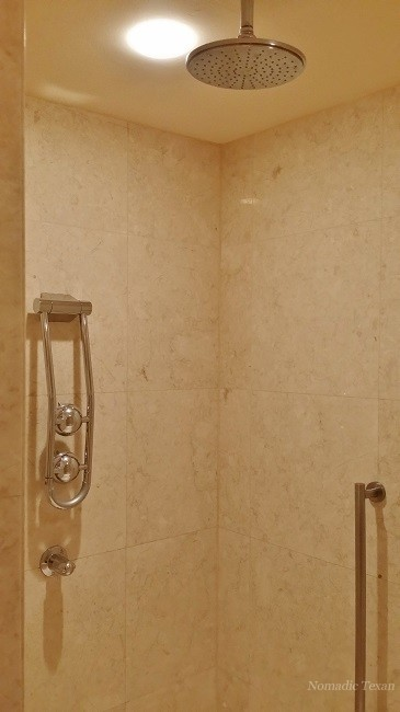 Left Side of Shower as You Enter With Two More Heads