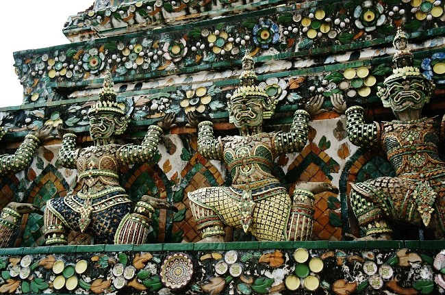 Mosaic Guardian Figures on Wat Arun, Temple of Dawn