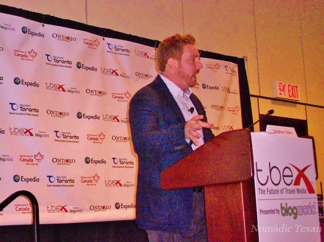 Stephen Oddo giving a speech at #TBEX Toronto.