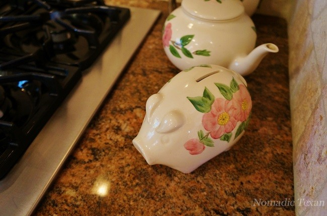 Franciscan Desert Rose China Piggy Bank in the Frank Home