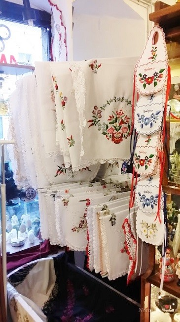 Handmade Linens Adorn the Shops on Fisherman's Hill in Buda