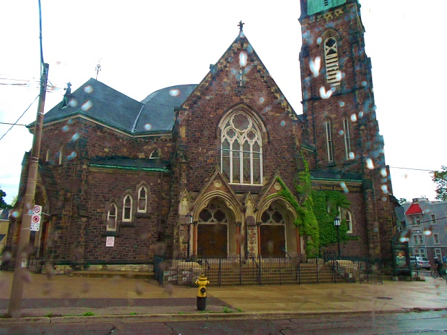 A church photo from the bus ride in and in the rain