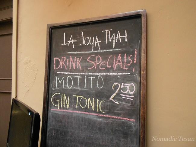 La Joya Thai Drink Specials