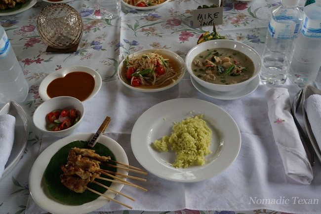 Finished Meal with Satay (Moo, Gao or Nua), #Satay with Spicy Peanut Sauce (Pork, Chicken or Beef)