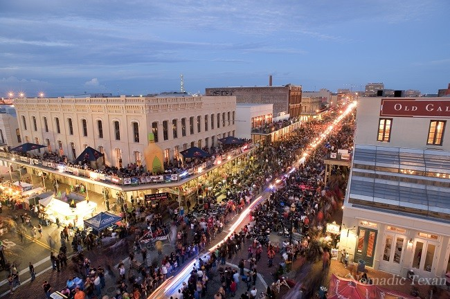 The Annual Lone Star Bike Rally rooftop view of the Strand in Galveston, Texas.